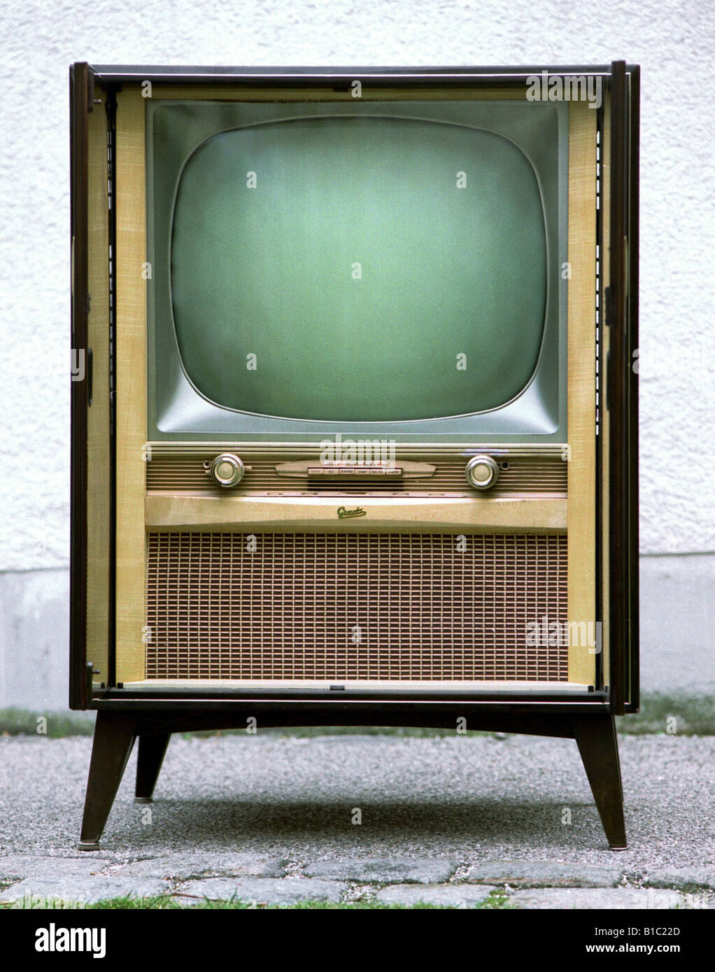 Broadcast, Fernsehen, TV-Gerät, Typ Grätz Monarch, Open, Deutschland, 1960, Stockfoto