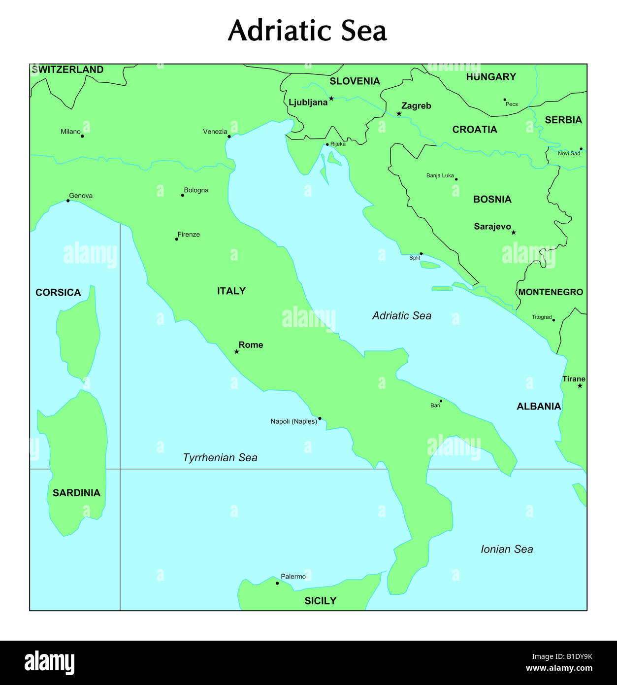 Adria Karte Stockfoto Bild 18131839 Alamy