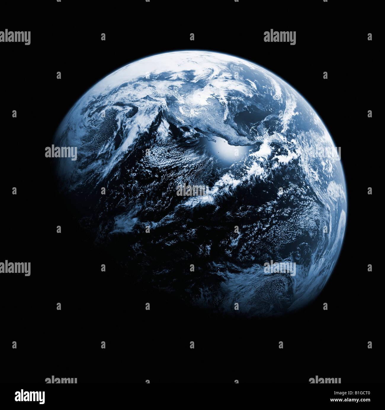 Satellitenbild der Erde aus dem Weltraum Stockbild