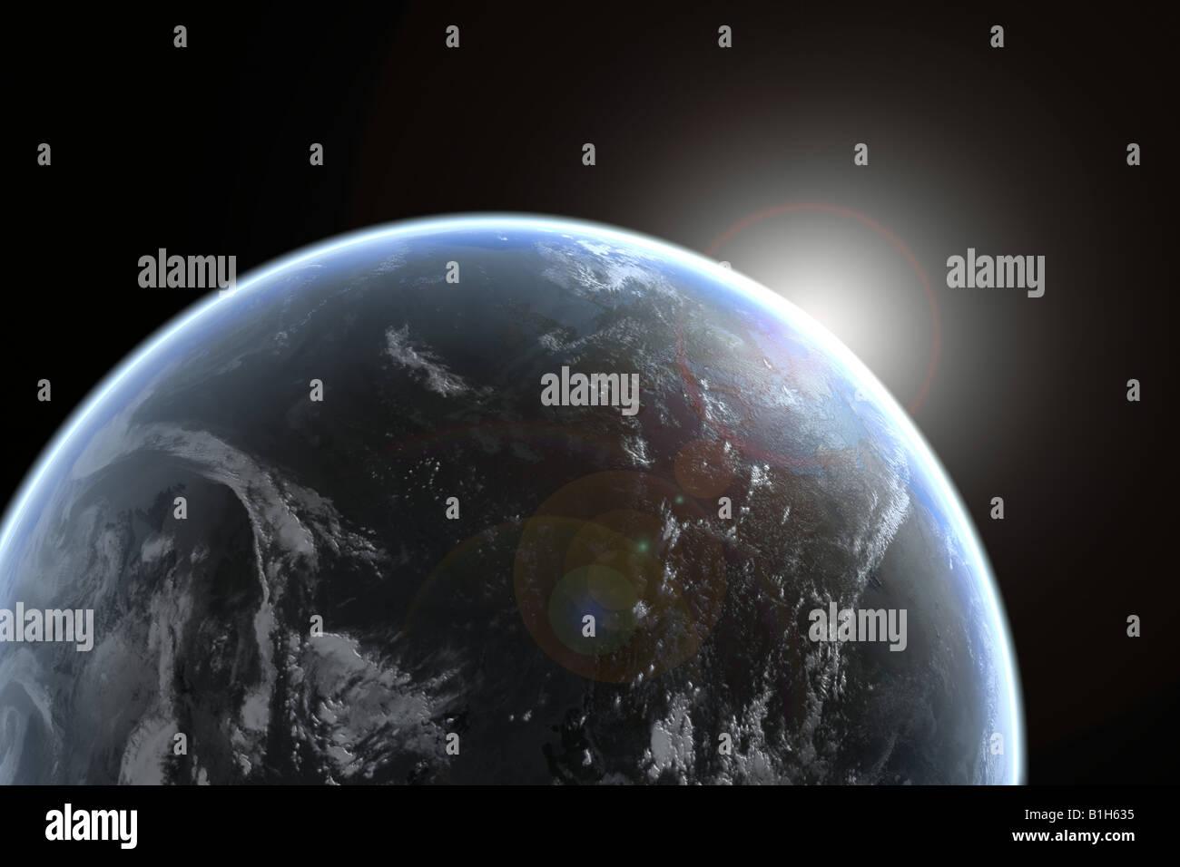 Sonne Schwellenländern über Planetenerde Stockbild