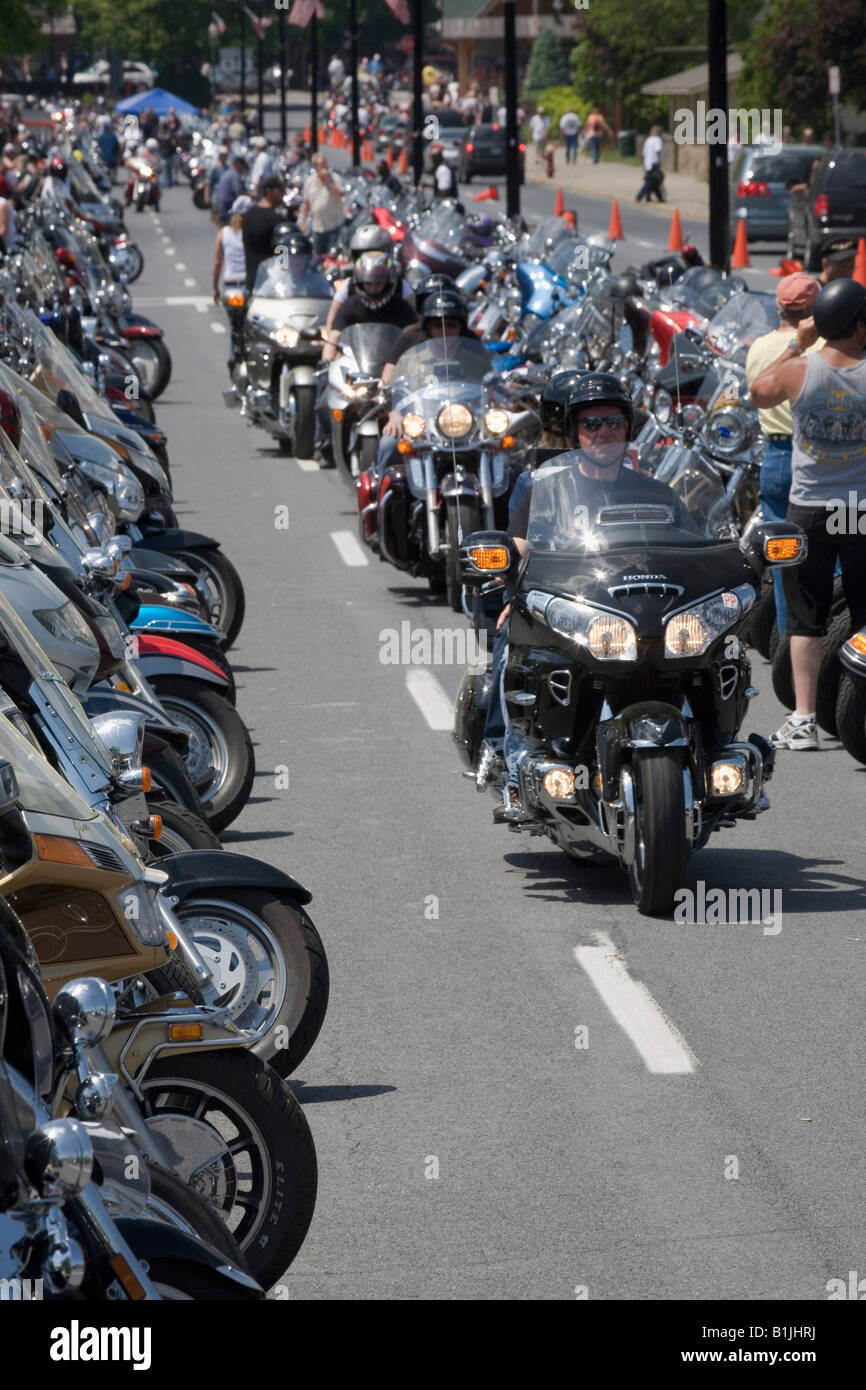 Jährliche Americade Motorrad Rallye Lake George Adirondacks New York State Stockbild