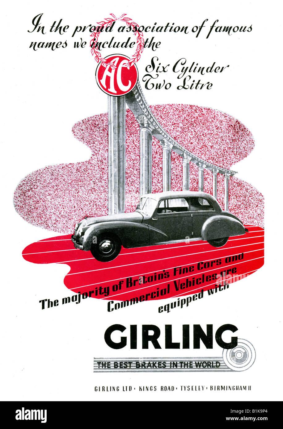 1948-Werbung für Girling-Bremsen mit einem AC Motor Auto für nur zur redaktionellen Nutzung Stockbild