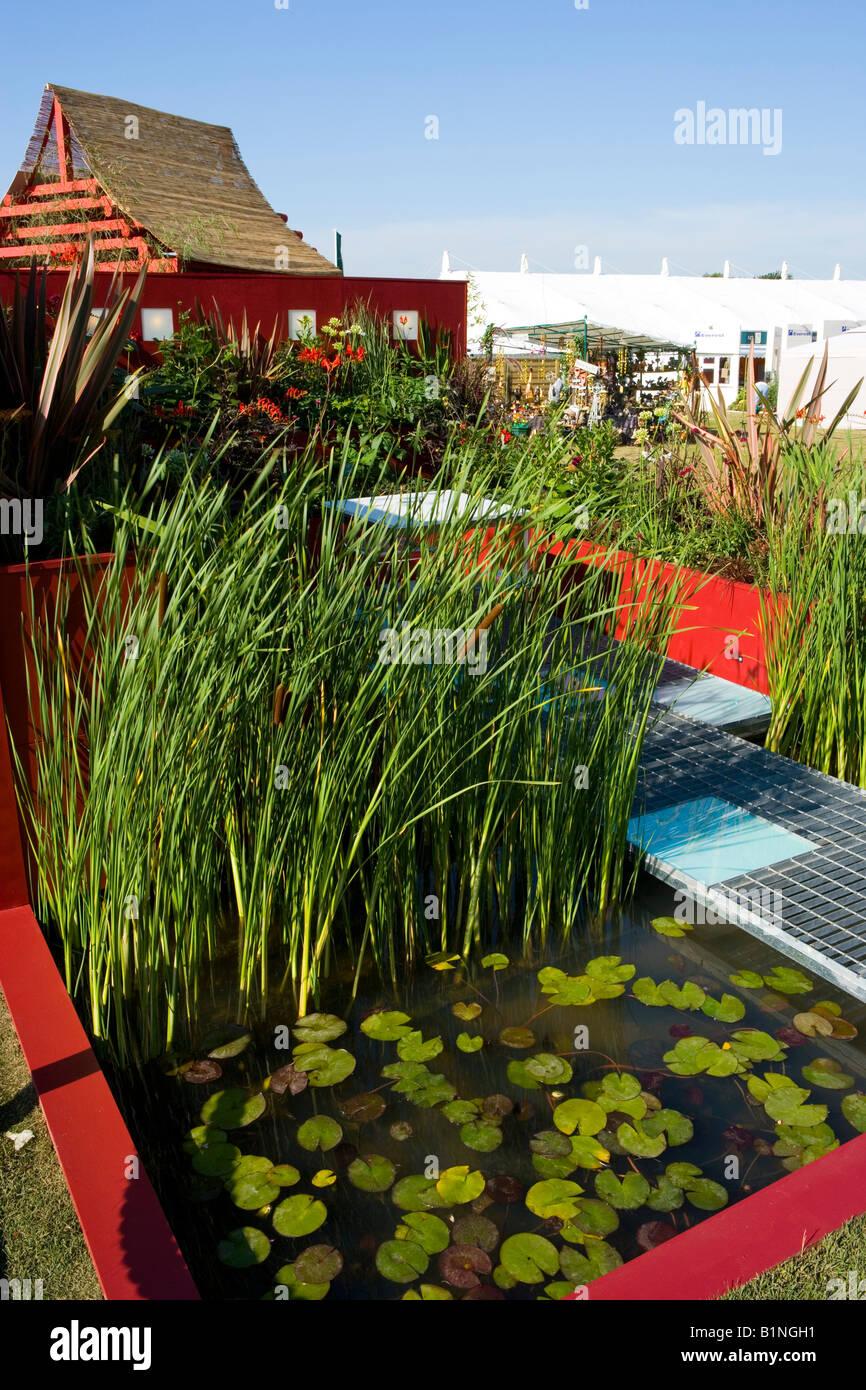 kleiner Pool mit Wasser Lilien. Stockbild