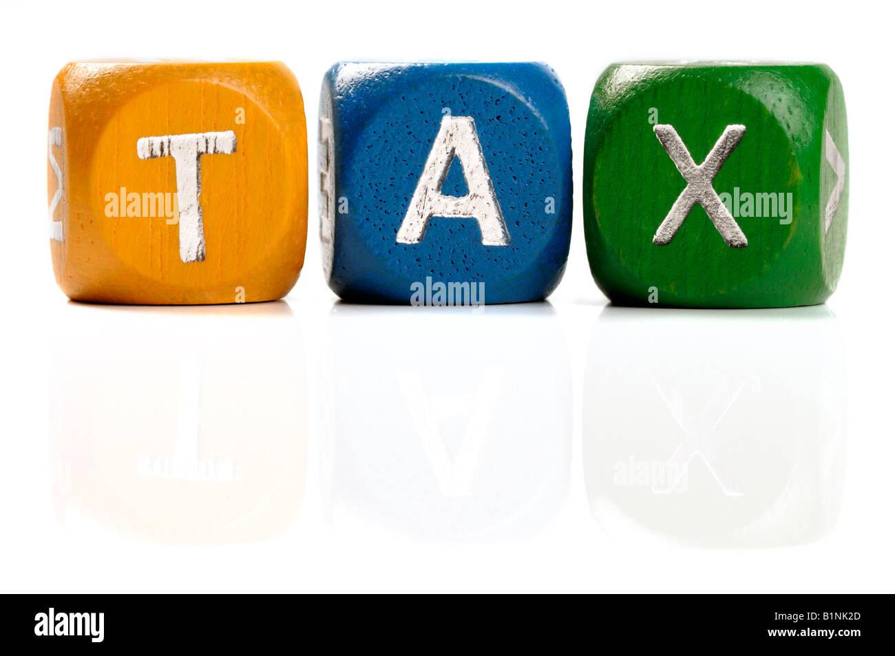 Steuer-Dice-Konzept Stockbild