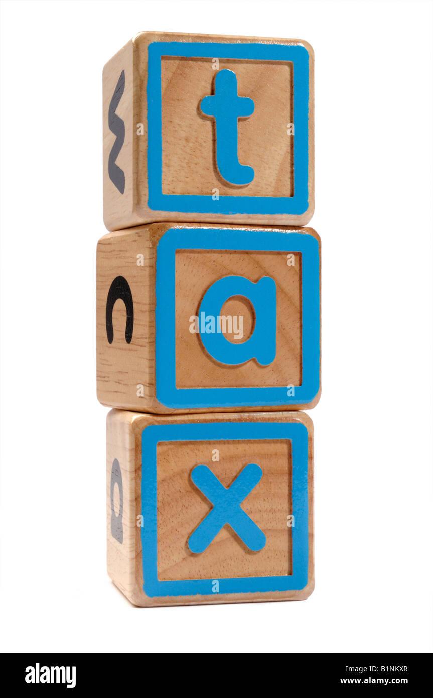 Steuer Holzblöcke Konzept Stockbild