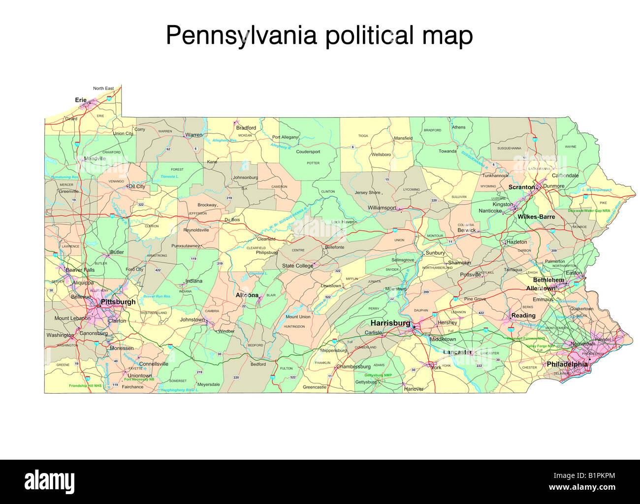 pennsylvania karte Pennsylvania State politische Karte Stockfoto, Bild: 18323500   Alamy pennsylvania karte