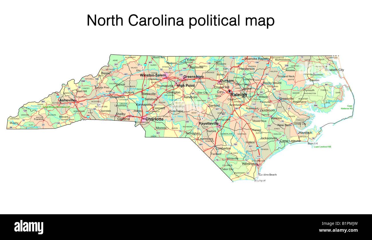 North Carolina State politische Karte Stockfoto, Bild: 18324177 - Alamy