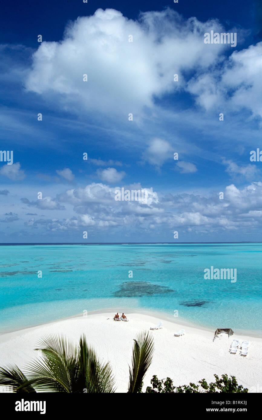 Strand, Olhuveli, südlichen Atoll, Malediven Stockbild