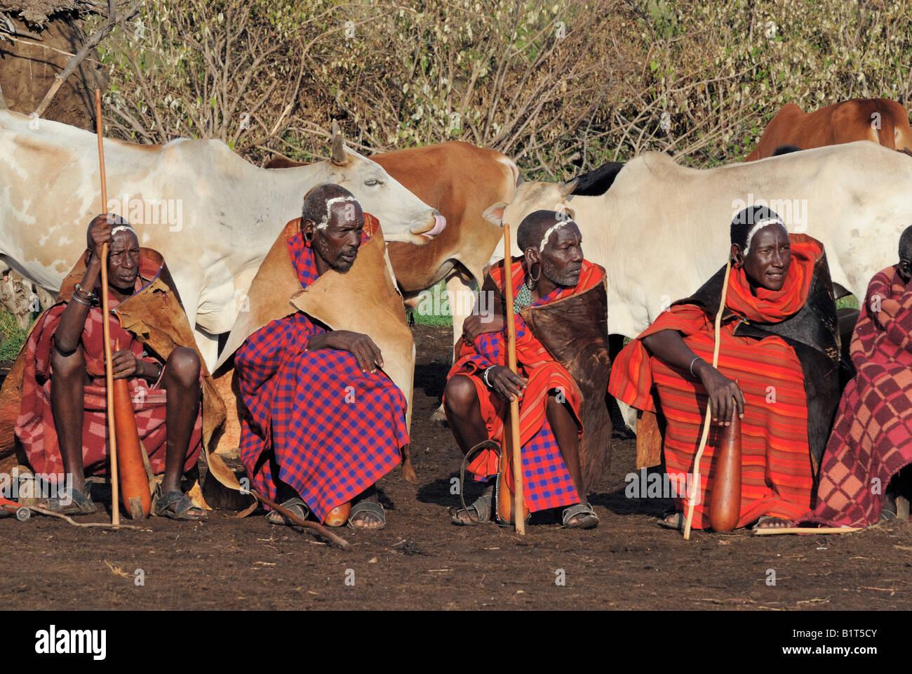 Altesten Versammelten Sich In Einem Massai Dorf Fur Eine Trauung