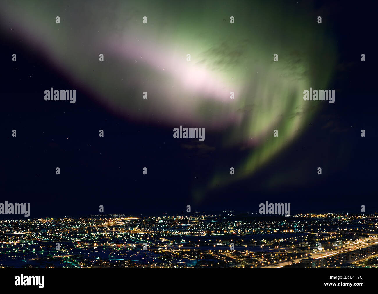 Aurora Borealis oder Northern Lights, Reykjavik Island Stockbild