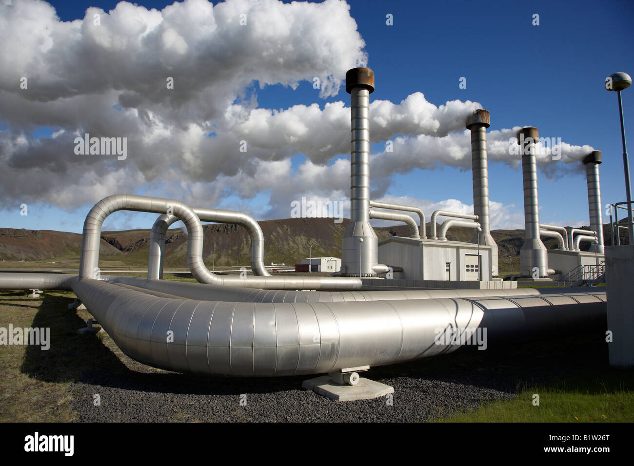 Nesjavellir Geothermie-Kraftwerk in Island Stockbild