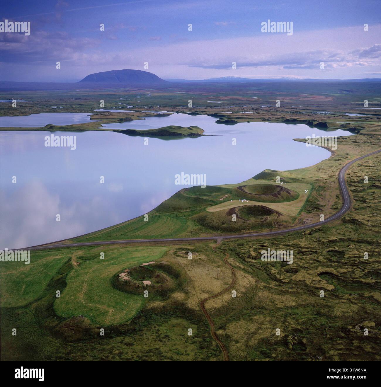 Pseudocraters am See Myvatn Island Stockbild
