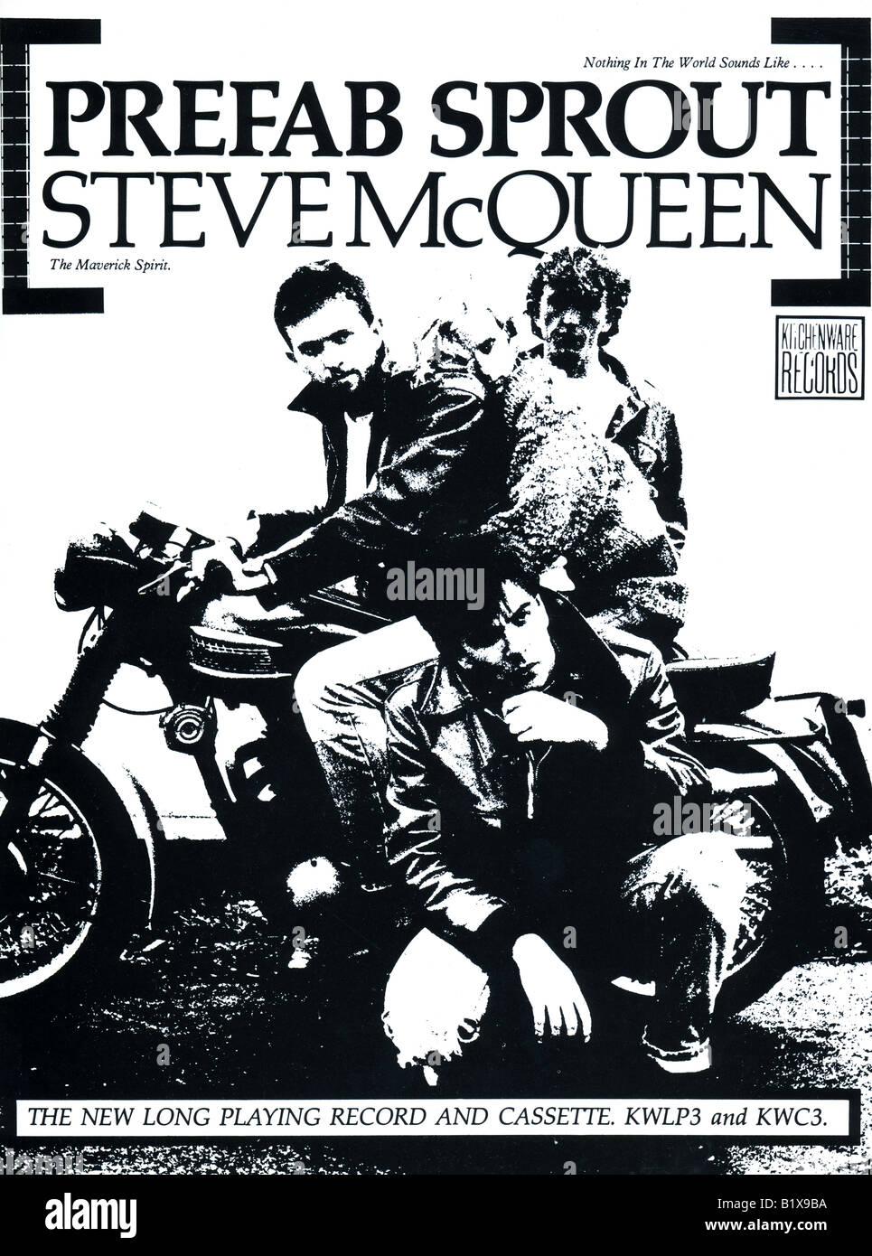 1980s 1985 Werbung von Geschirr Records neues Album Steve McQueen von Prefab Sprout für nur zur redaktionellen Stockbild