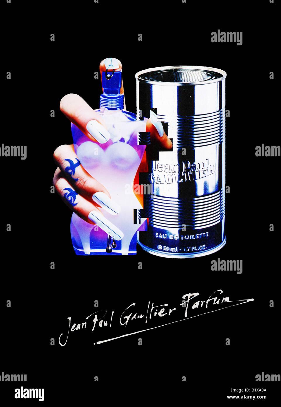 1990er Jahre Werbung für Jean Paul Gaultier Parfum für nur zur redaktionellen Verwendung Stockbild
