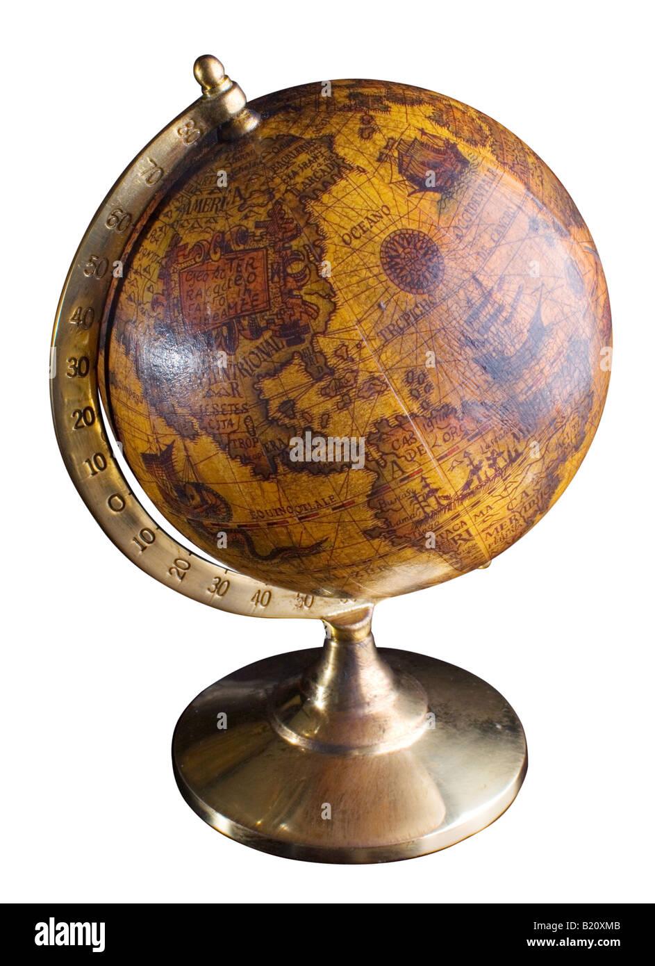 Globusobjekt auf einem weißen Hintergrund Stockbild