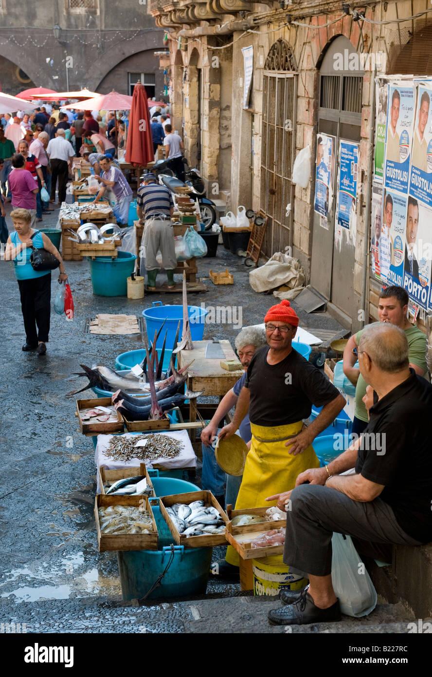 Fischmarkt, Catania Stockbild