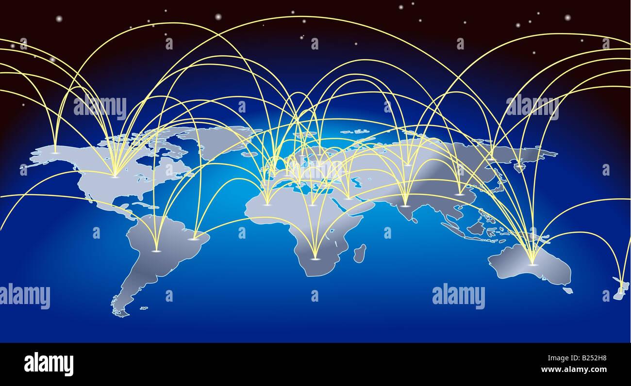 Flight Route Map Stockfotos Flight Route Map Bilder Alamy