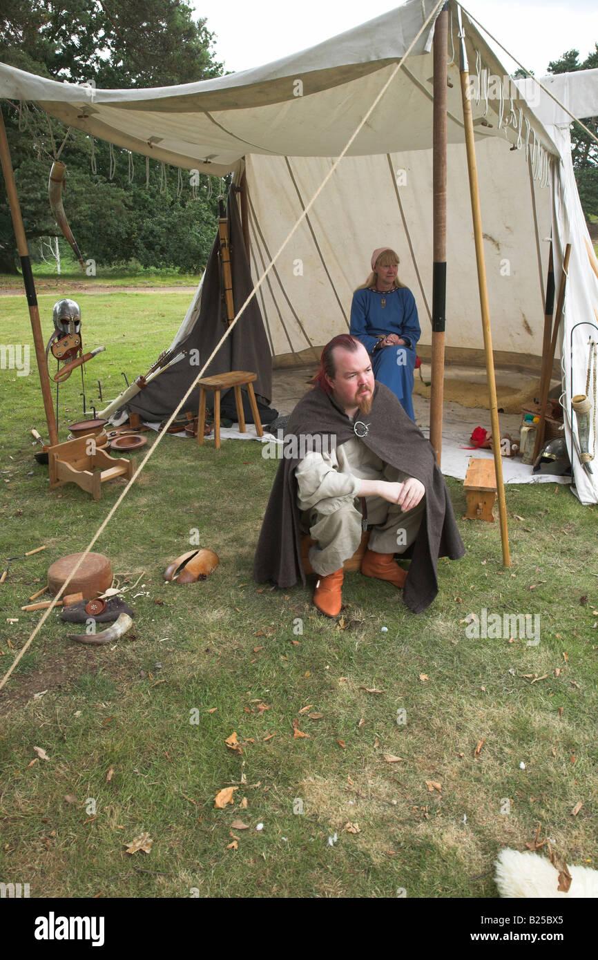 Ormsgard angelsächsischen Re-enactment. Sutton Hoo, Suffolk, England Stockbild