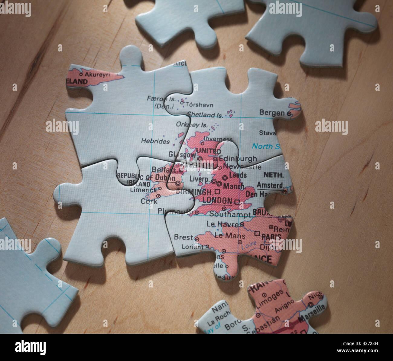 Britischen Inseln auf Jigsaw puzzle Stockbild