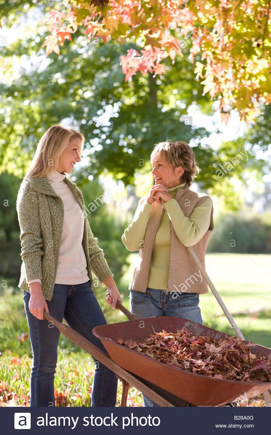 Frauen, die Gartenarbeit im Herbst Stockbild