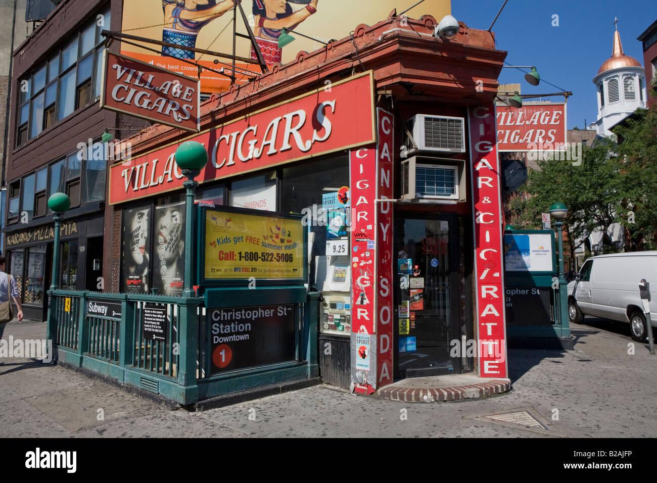Dorf Zigarren, ein Wahrzeichen neben dem Sheridan Square für fast 100 Jahre, West Village, New York City Stockbild