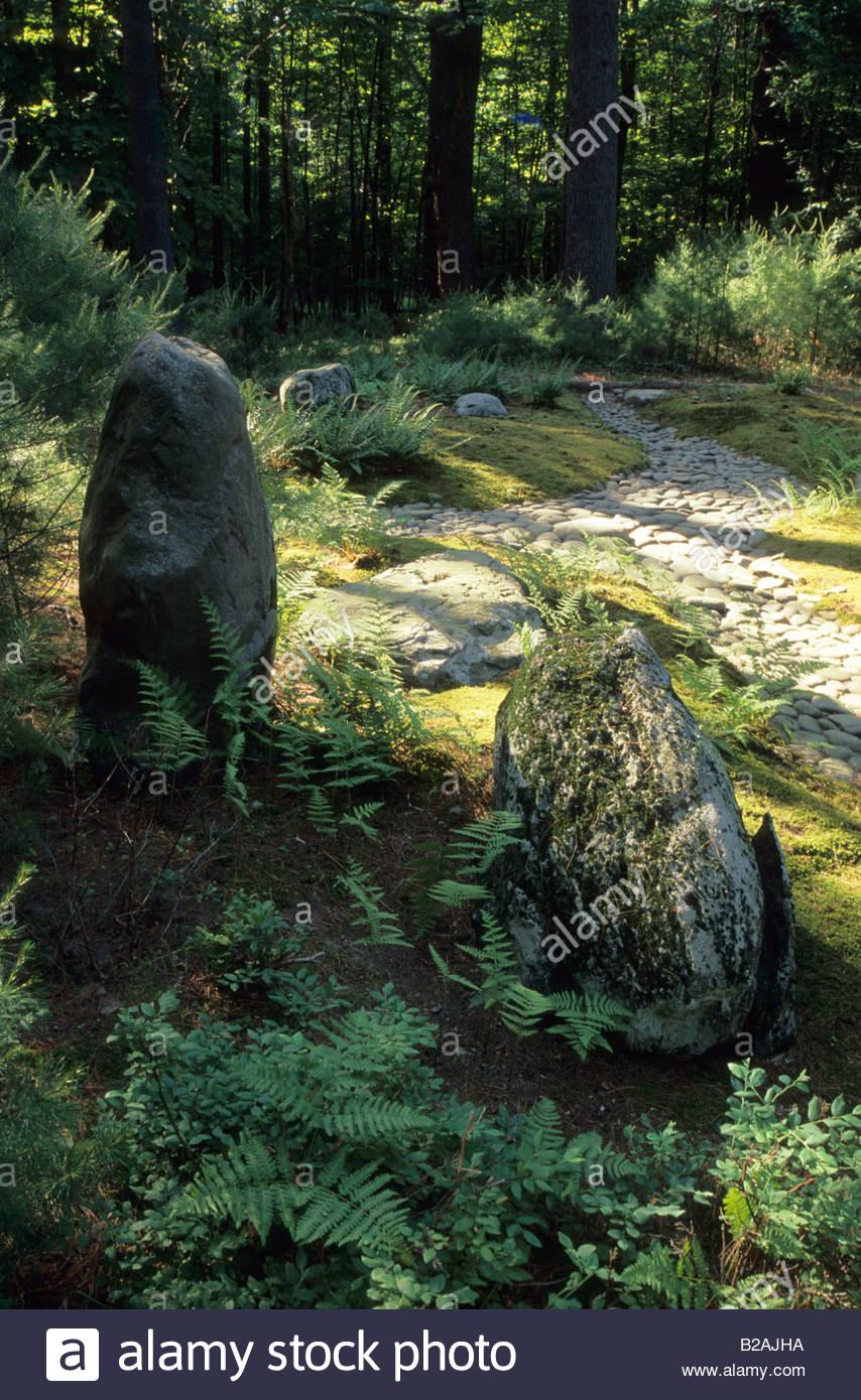 Mount Tremper Kloster New York Design Stephen Morrel Japanischer Garten  Wald Der Zen Garten Mit Steinen Moos Und Pfad