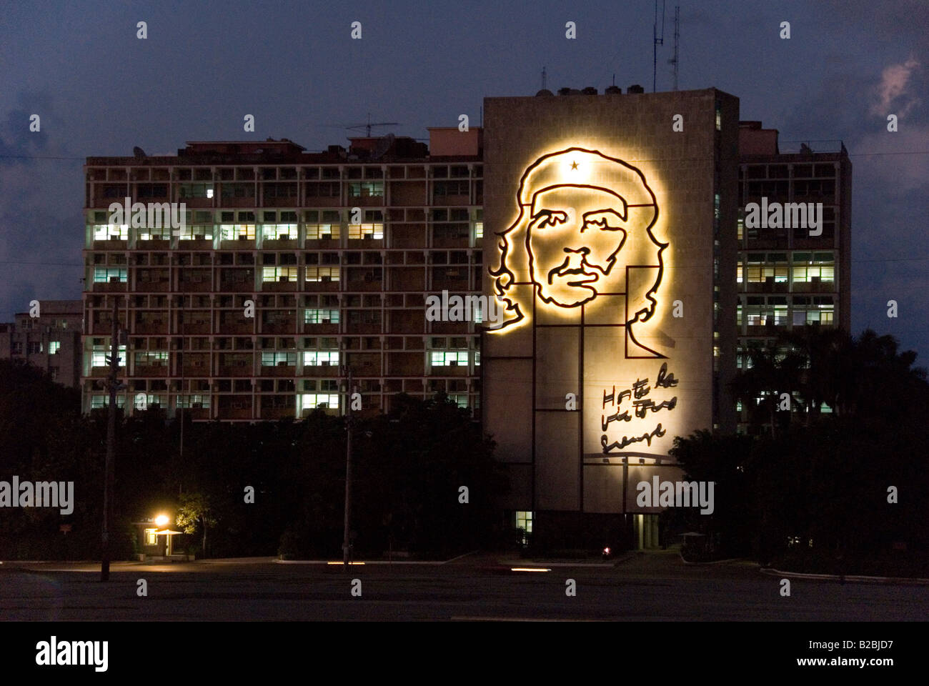 Ernest Che Guevara Stahl Skulptur auf dem Innenministerium Gebäude Plaza De La Revolucion in Vedado Havanna Stockbild