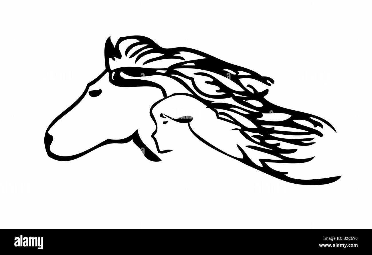 Pferdekopf, menschlicher Kopf Stockbild
