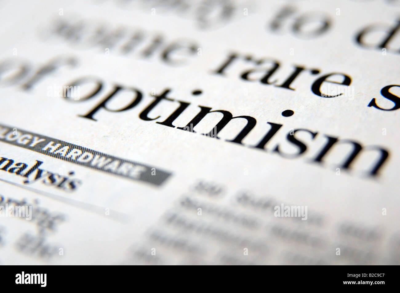 Lizenzfreie kostenlose Foto von Schlagzeile über die Hoffnung auf Aufschwung und Zuversicht und Optimismus Stockbild