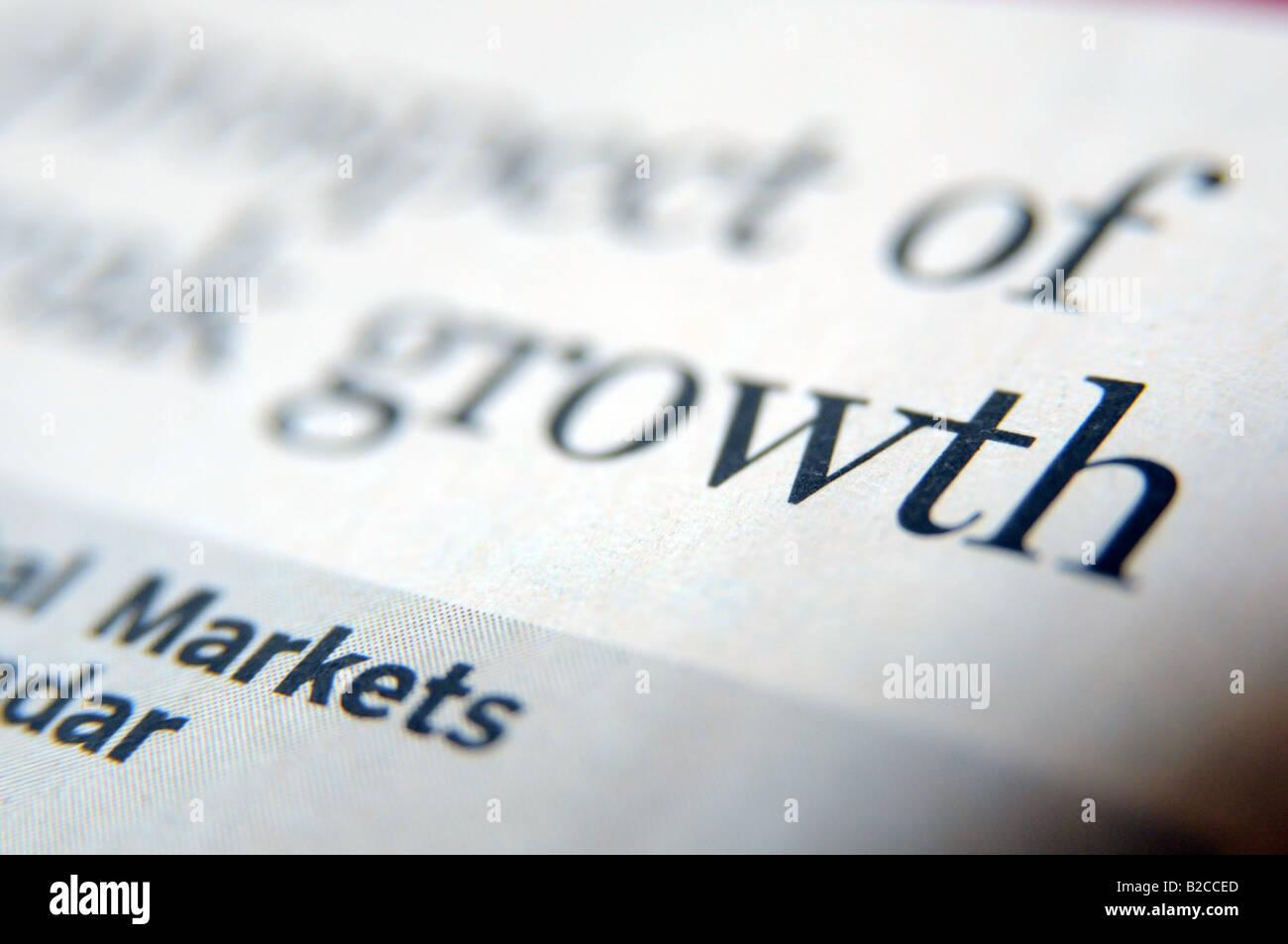 Foto von Schlagzeile über die Credit Crunch und Investor wirtschaftlichen Aufschwung und Wachstum in der Wirtschaft Stockbild