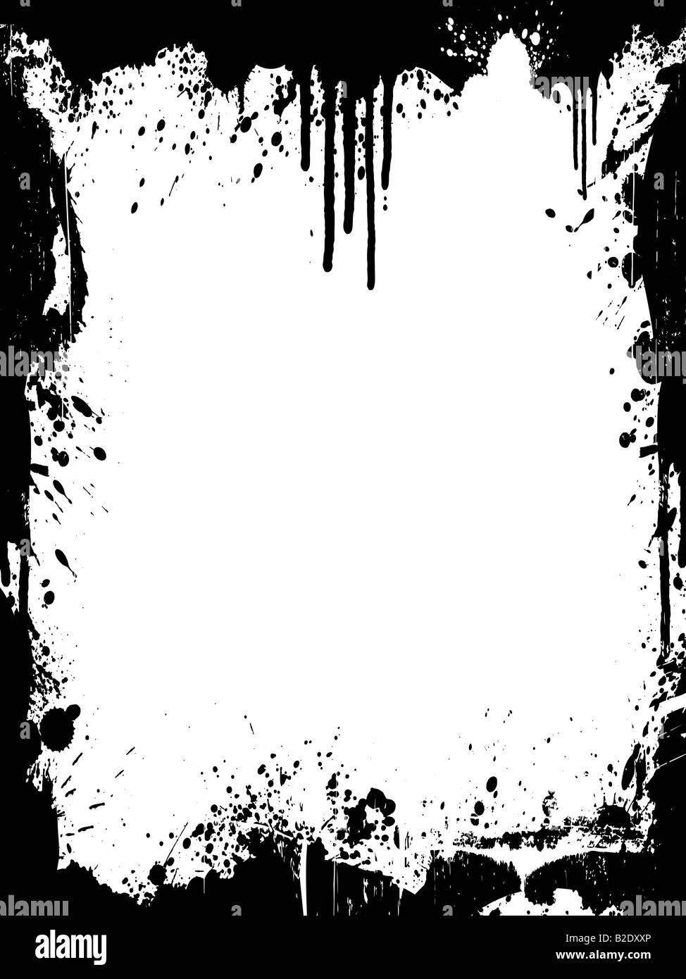Vektor-Illustration einer Grunge-Tinte splatter Hintergrund Rahmen ...