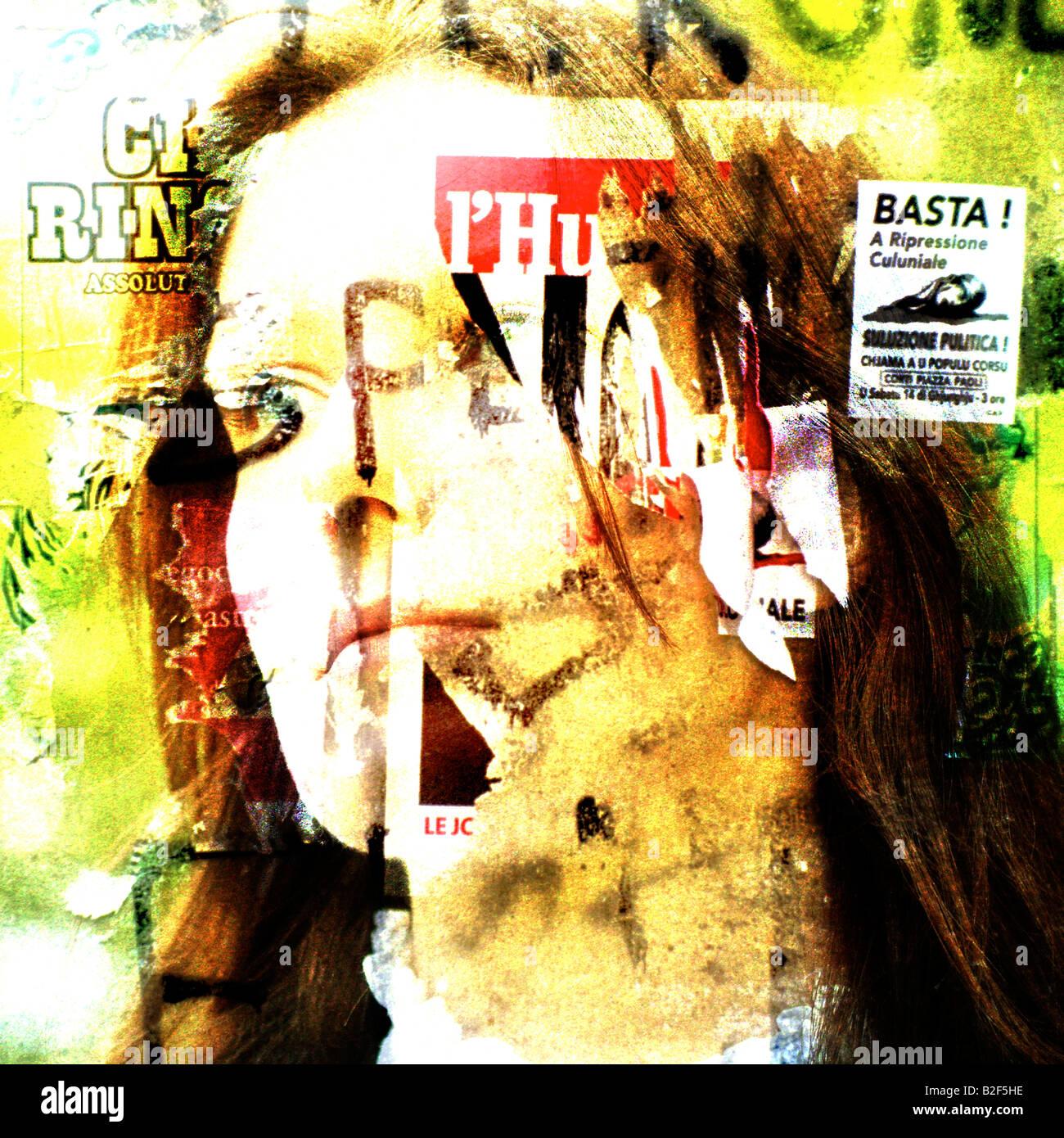 Das Gesicht einer jungen Frau und Grafik urban Decay für nur zur redaktionellen Nutzung Stockbild
