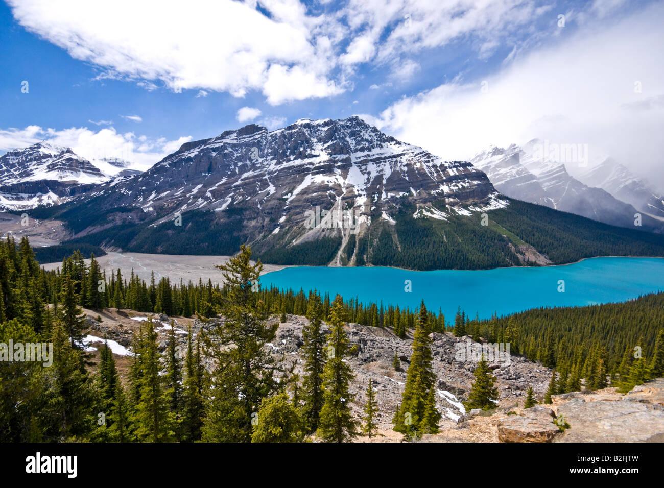 Peyto See aus Bow Summit im Banff National Park Kanada an einem sonnigen Juni Datum betrachtet Stockbild