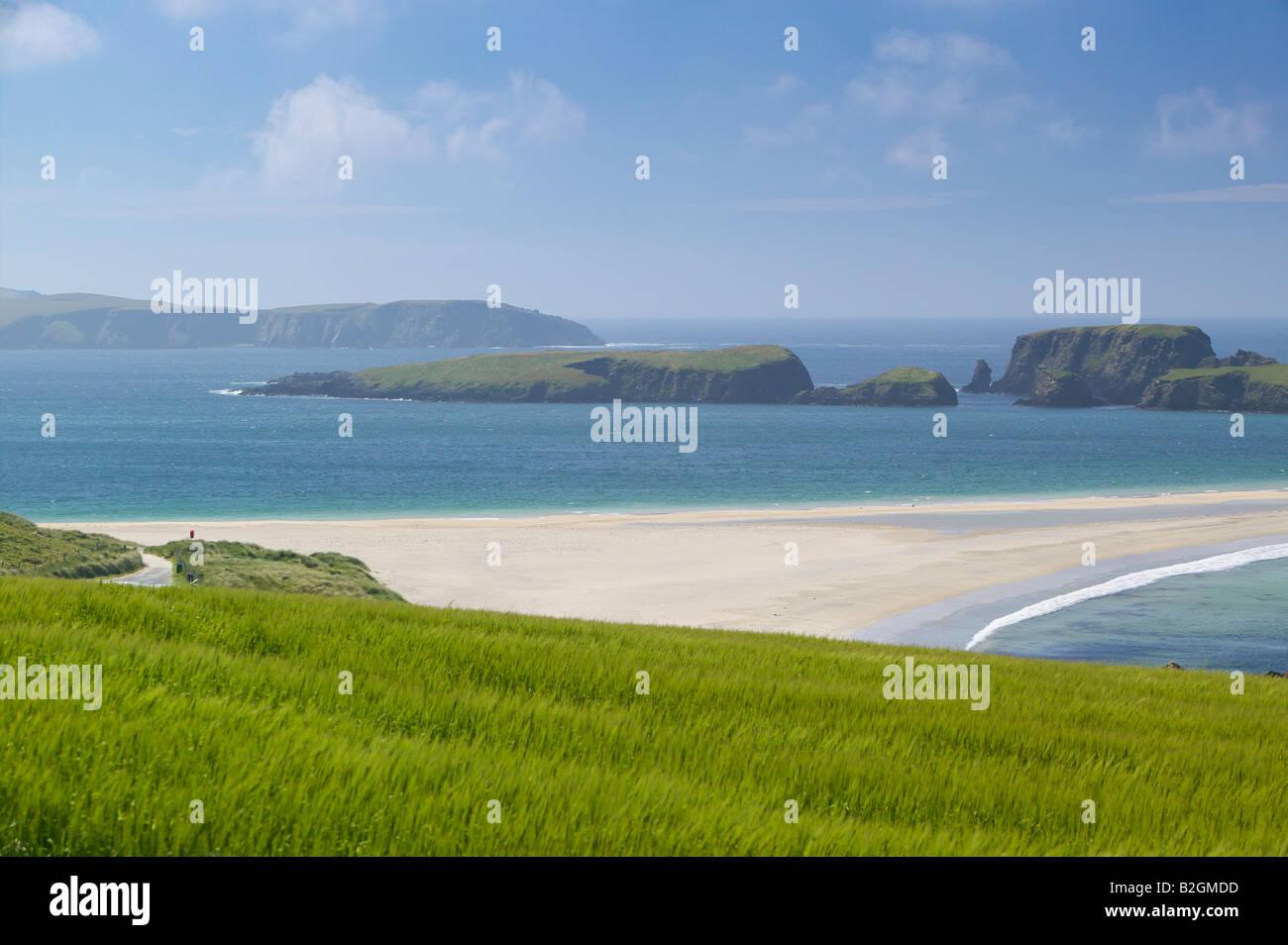 St. Ninian Isle und Tombolo, Mainland, Shetland-Inseln, Schottland, UK. Stockfoto