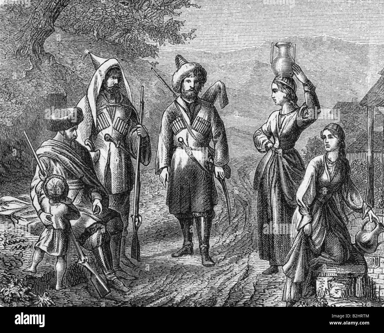Geografie/Reisen, Russland, Leute, Kaukasier, Gravieren, 19. Jahrhundert, Kostüm, Kaukasus, historischen, geschichtlichen, Stockbild