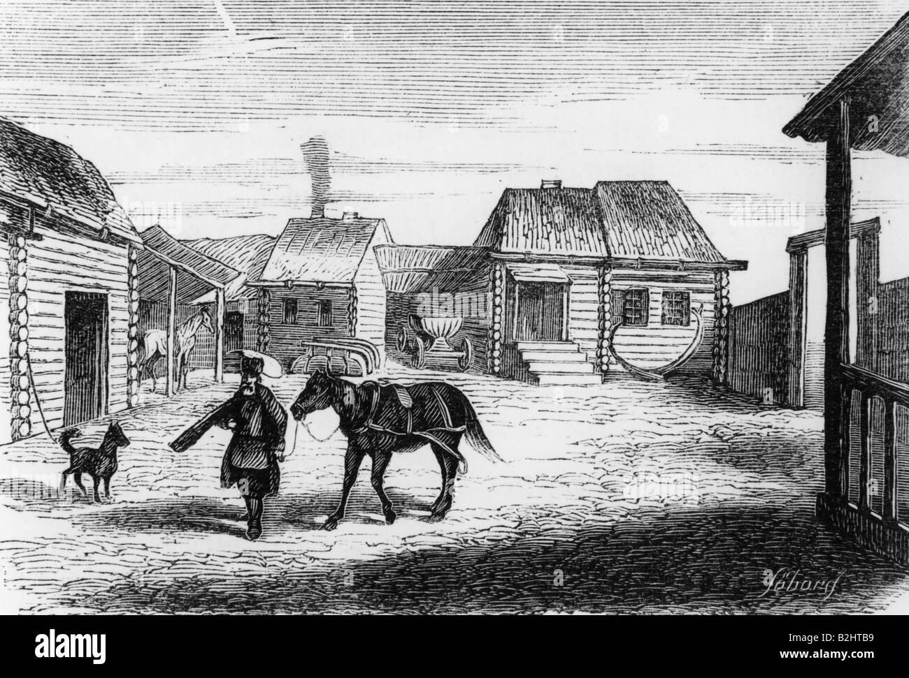 Geografie/Reisen, Russland, Sibirien, Bauernhof, Gravieren, um 1870, Additional-Rights-Spiel-NA Stockbild