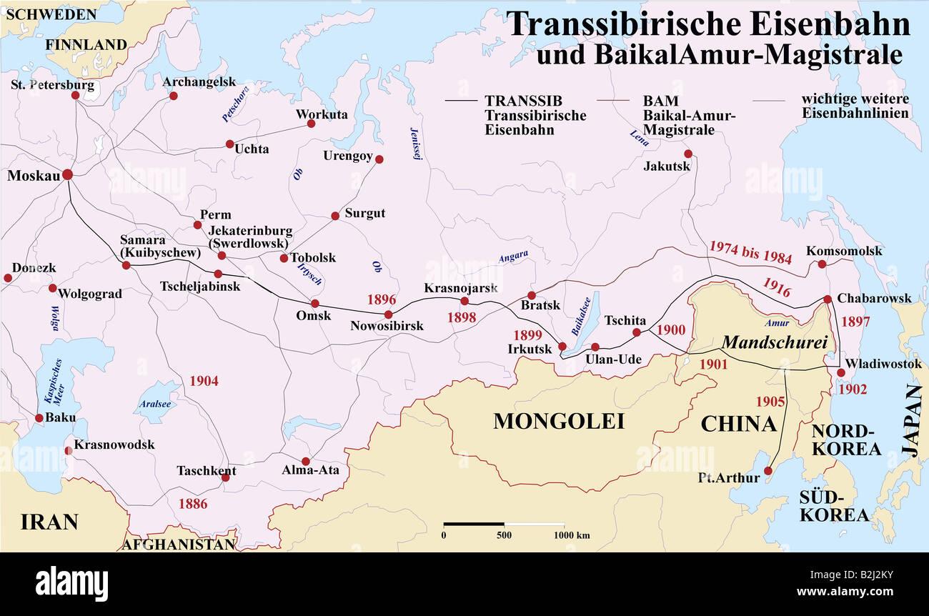 Carthography, historische Karten, Neuzeit, Russland, Verkehr / Transport, Trans-Siberian Railway, 1891-1916 und Stockfoto