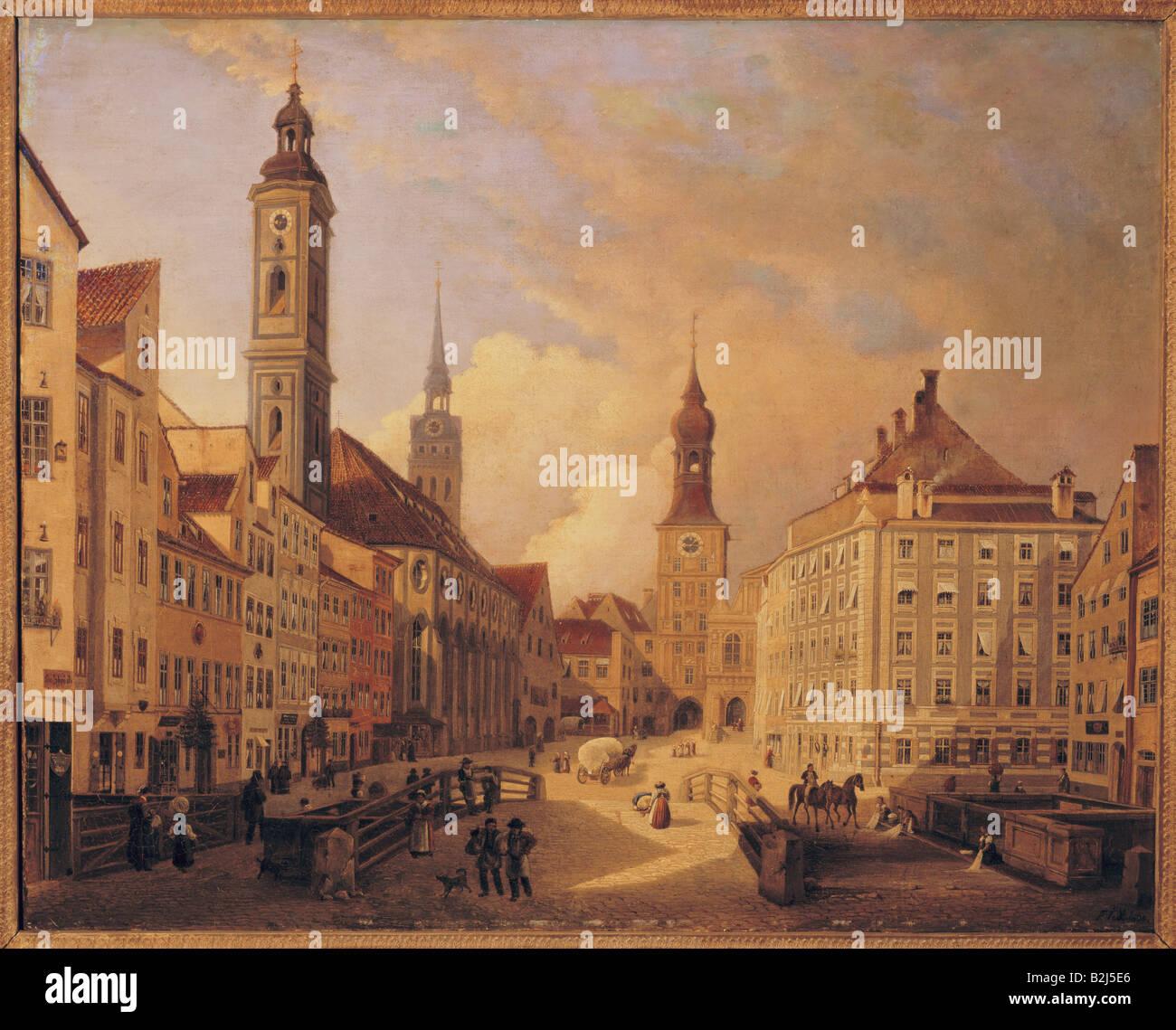 Bildende Kunst, Jodl, Ferdinand (1805 - 1882), Malerei, Tal mit hohen Brücke, Öl auf Leinwand, 1835, Stadtmuseum, Stockbild