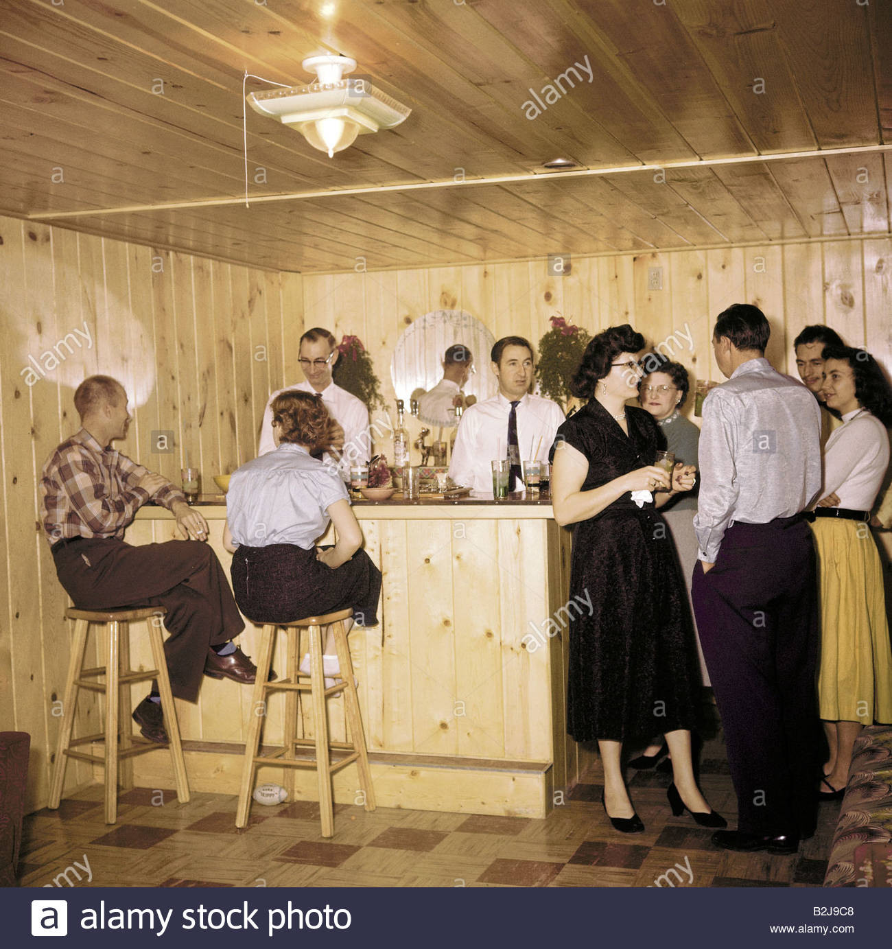 Feste, Partys, House-Party im Keller, USA, 1950er Jahre, bar, 50er ...