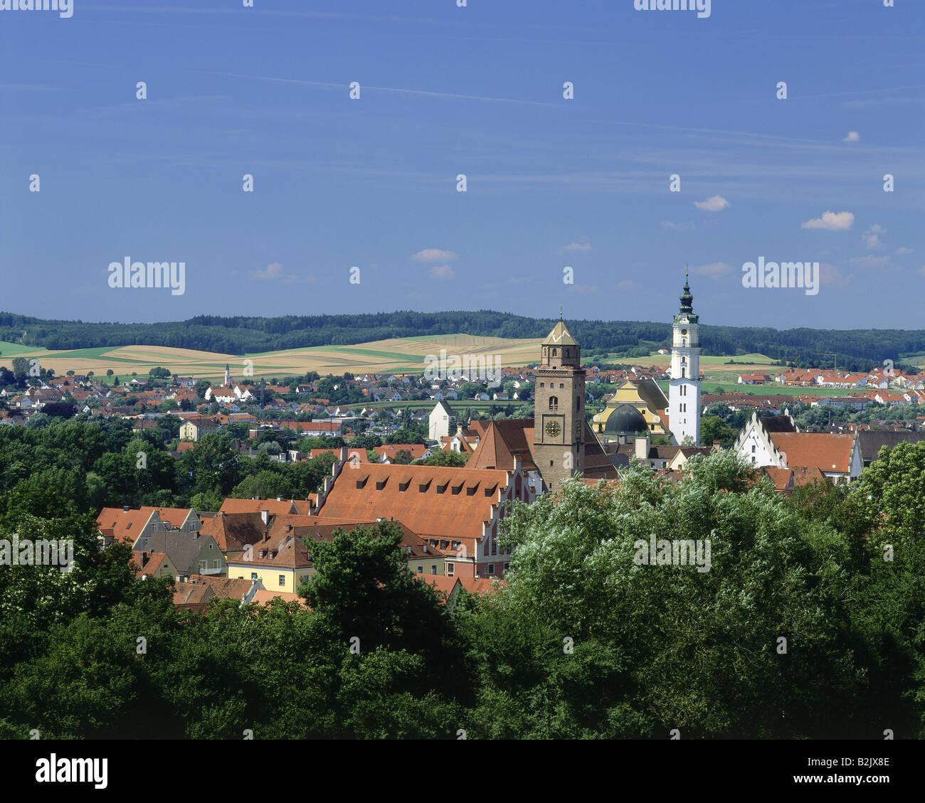 Geographie/Reisen, Deutschland, Bayern, Donauwoerth, Blick auf die Stadt/Stadtansichten, Additional-Rights - Clearance Stockbild