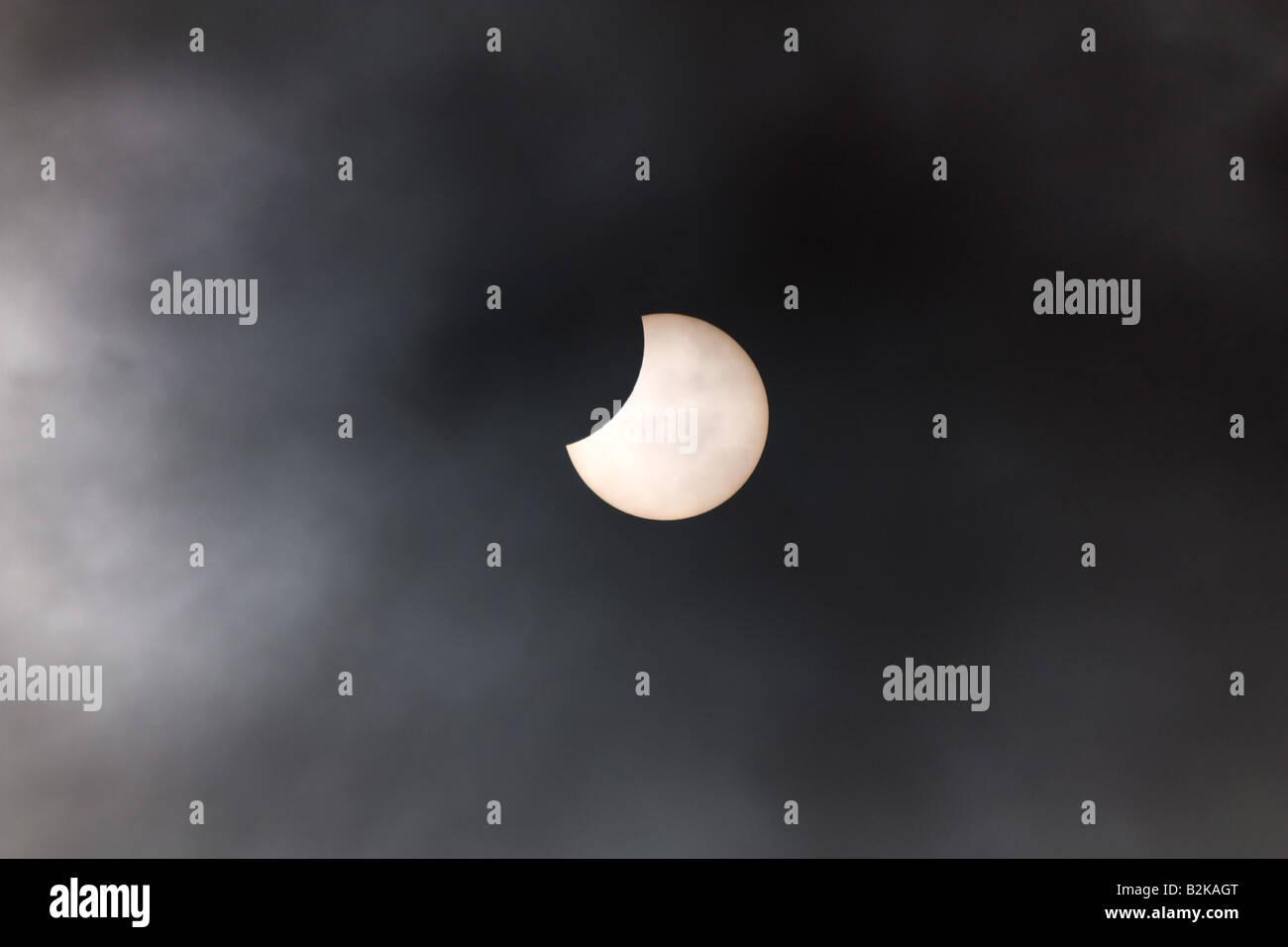 Partielle Sonnenfinsternis - Nordirland 1. August 2008 10:16 Stockbild