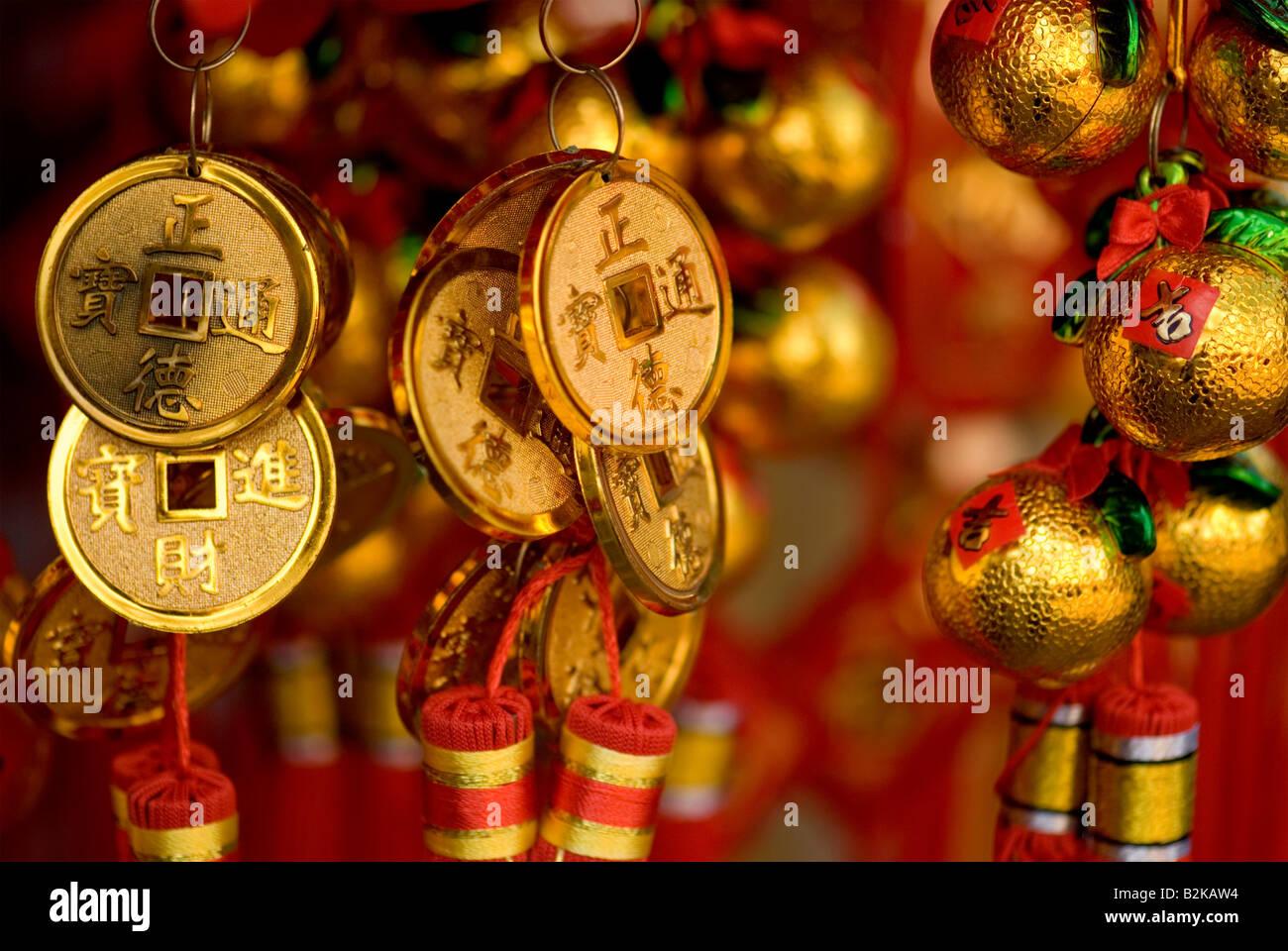 Chinesische Schmuck Glücksbringer Chinatown Singapur Rot Und