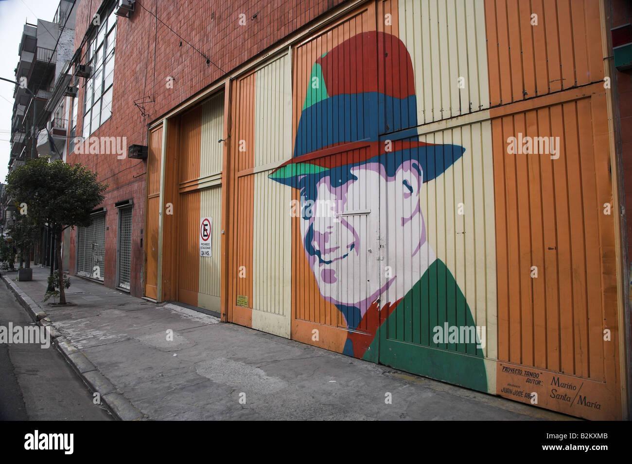 Straße Malerei der berühmte Tango-Sänger Carlos Gardel im Bereich Abasto von Buenos Aires in Argentinien Stockbild
