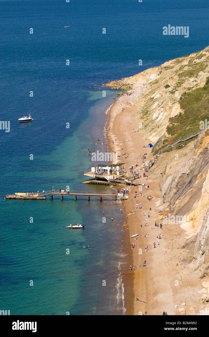 Strand mit Blick auf Alum Bay Isle Of Wight Vereinigtes Königreich Stockfoto