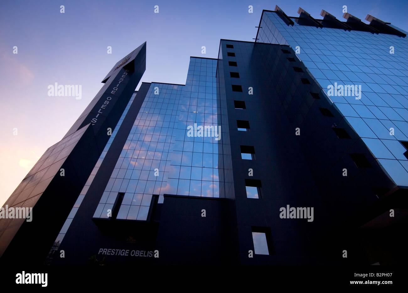 Moderne Gebäude, MG-Road-Bereich, Shanthala Nagar, Bengaluru (Bangalore), Karnataka, Südindien Stockbild