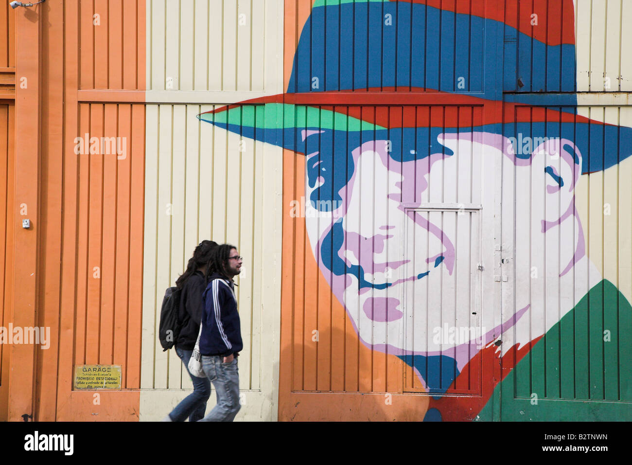 Straße Malerei der berühmte Tango-Sänger Carlos Gardel im Bereich Abasto von Buenos Aires in Argentinien. Stockbild