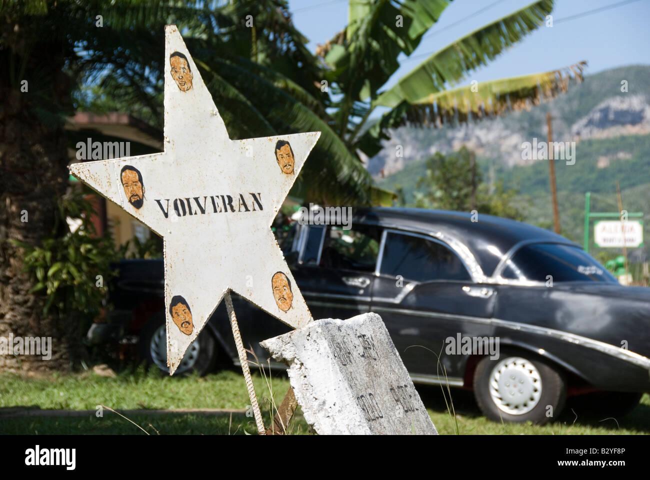 Hommage an die kubanische fünf Los Cincos Volveran. Kuba Stockbild