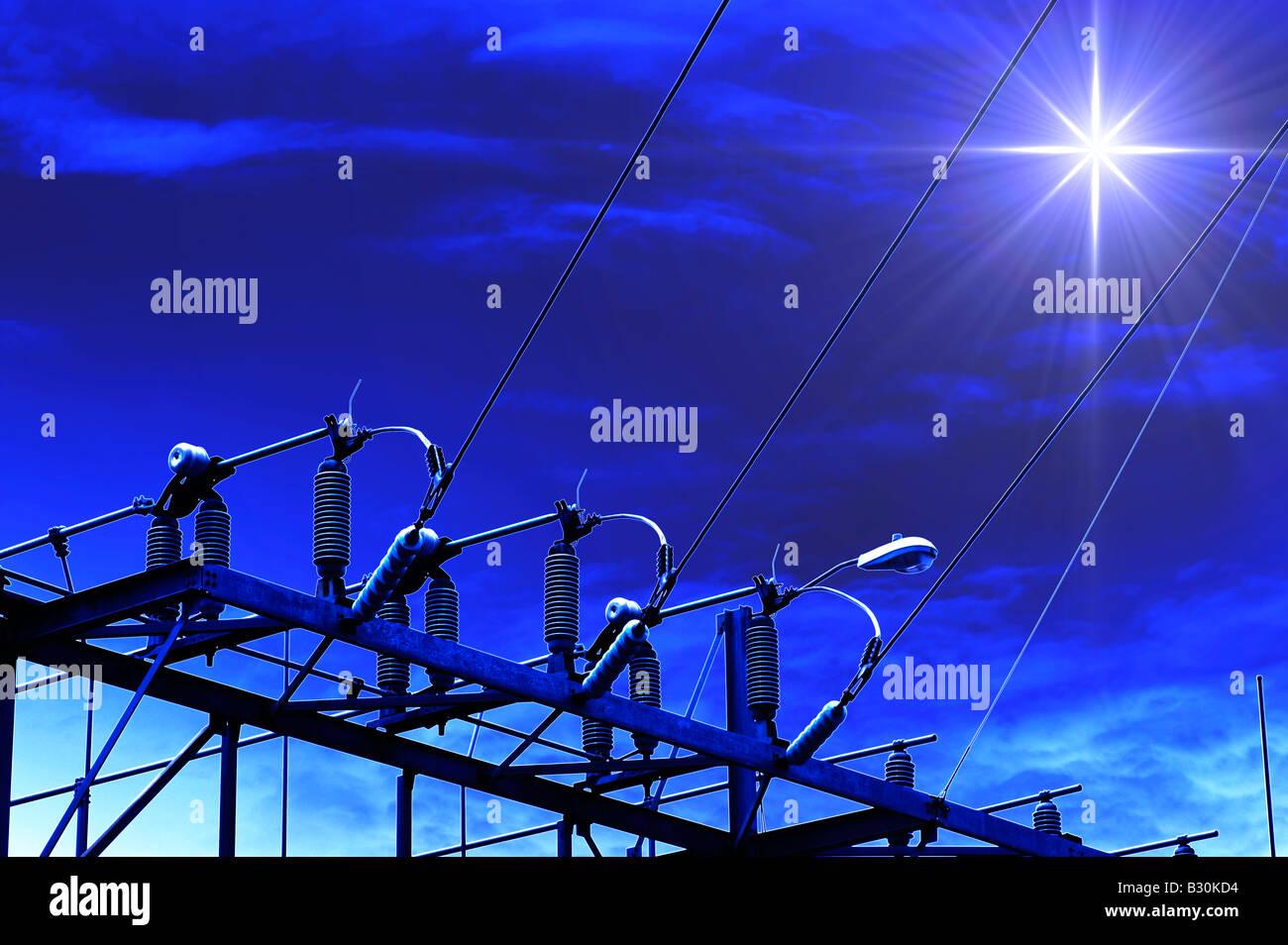 Elektrizitätswerk in der Nacht mit Abendstern Stockbild