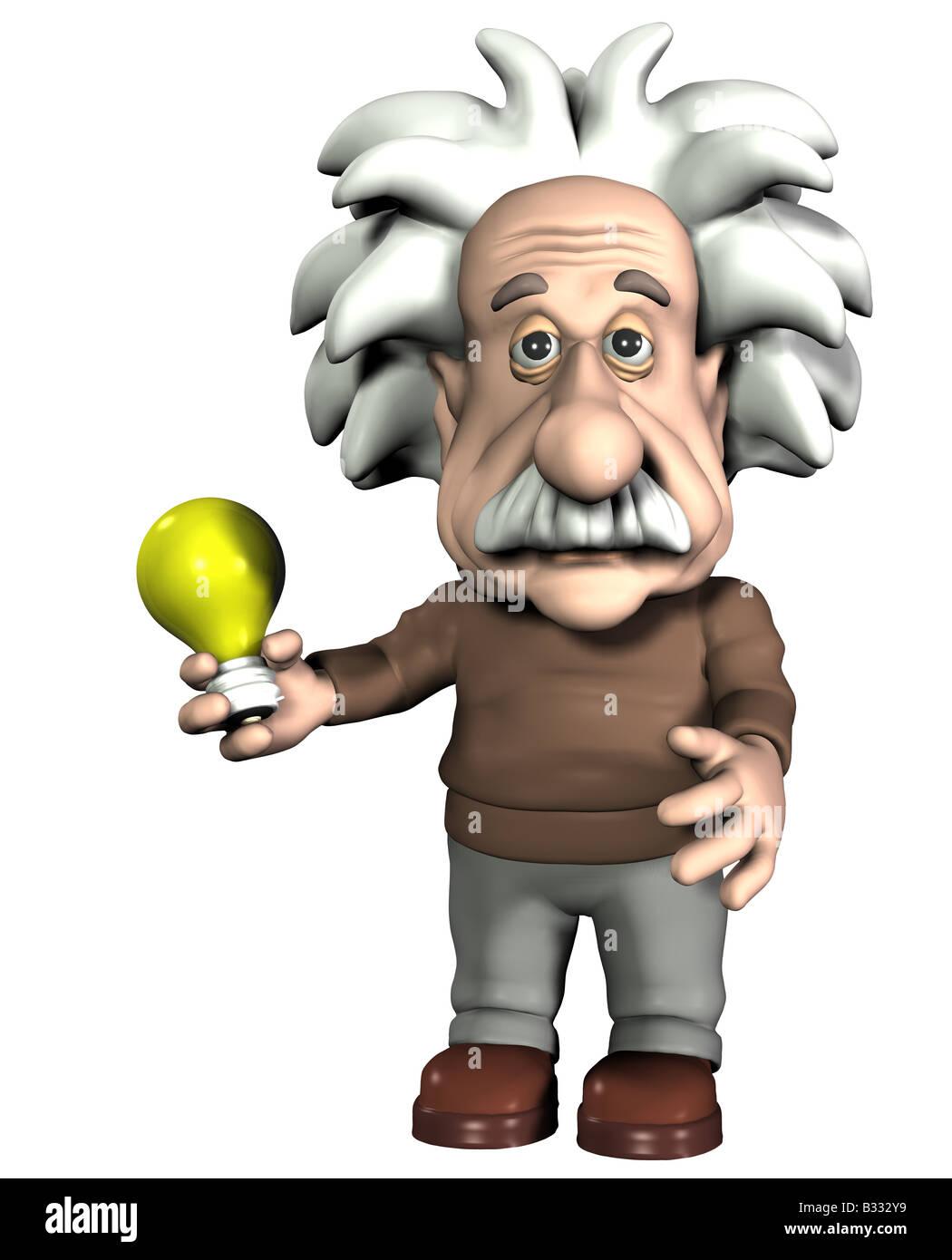 Albert Einstein mit Glühlampe Stockbild