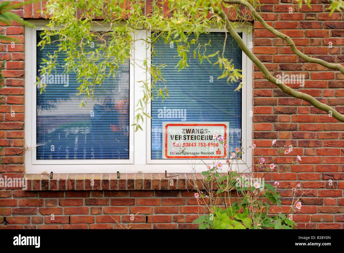 Auktion Verkauf eines Hauses in Deutschland Stockbild